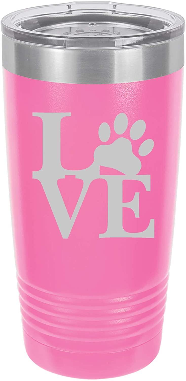 Tumbler Stainless Steel Vacuum Insulated Travel Mug LOVE Paw Print (Hot-Pink, 20 oz)