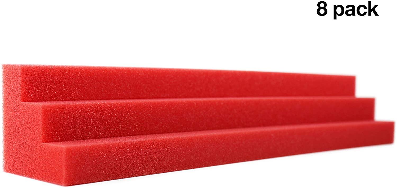 New Level Red Column Acoustic Wedge Studio Foam Corner Block Finish Corner Wall in Studios or Home Theater (8 Pack)