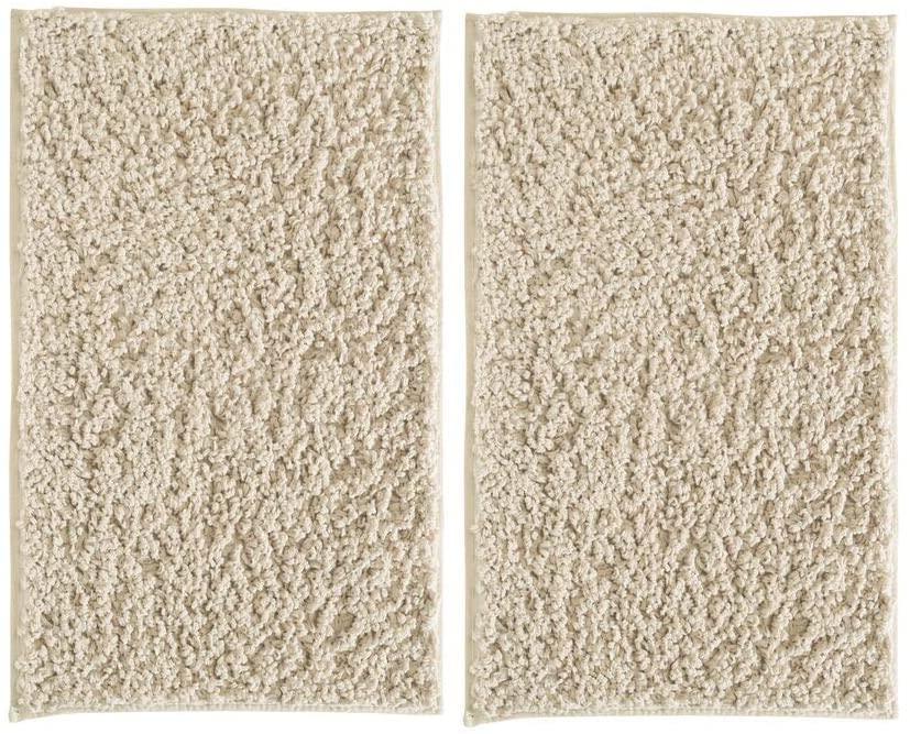 mDesign Soft Microfiber Polyester Non-Slip Rectangular Shag Mat, Plush Water Absorbent Accent Rug for Bathroom Vanity, Bathtub/Shower, Machine Washable - 34