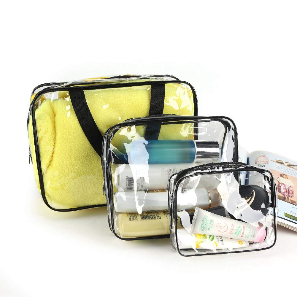 3Pcs/Set Clear Waterproof Cosmetic Bag PVC Zippered Portable Organizer Makeup Pouch for Travel Bathroom and Storage