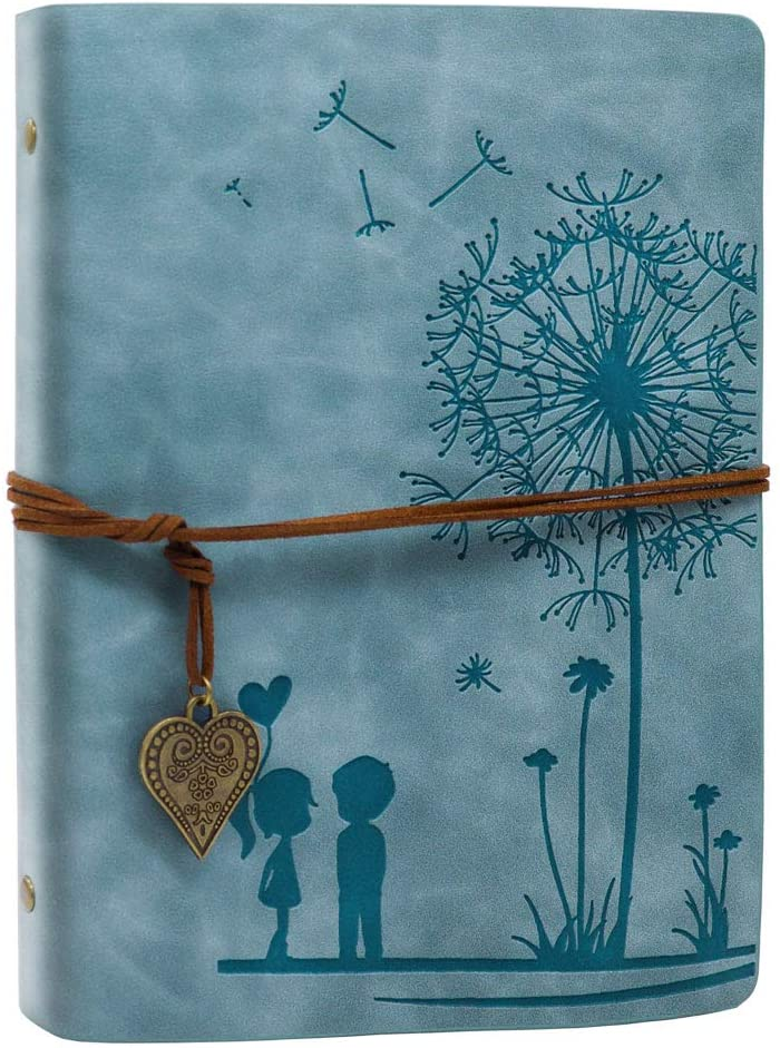 A5 Journal Notebook Vintage PU Leather Sketchbook Notepads Travel Journal Diary, Refillable Sketch Book Blank Brown Pages 100 Sheets / 200 Pages (Dandelion Blue)