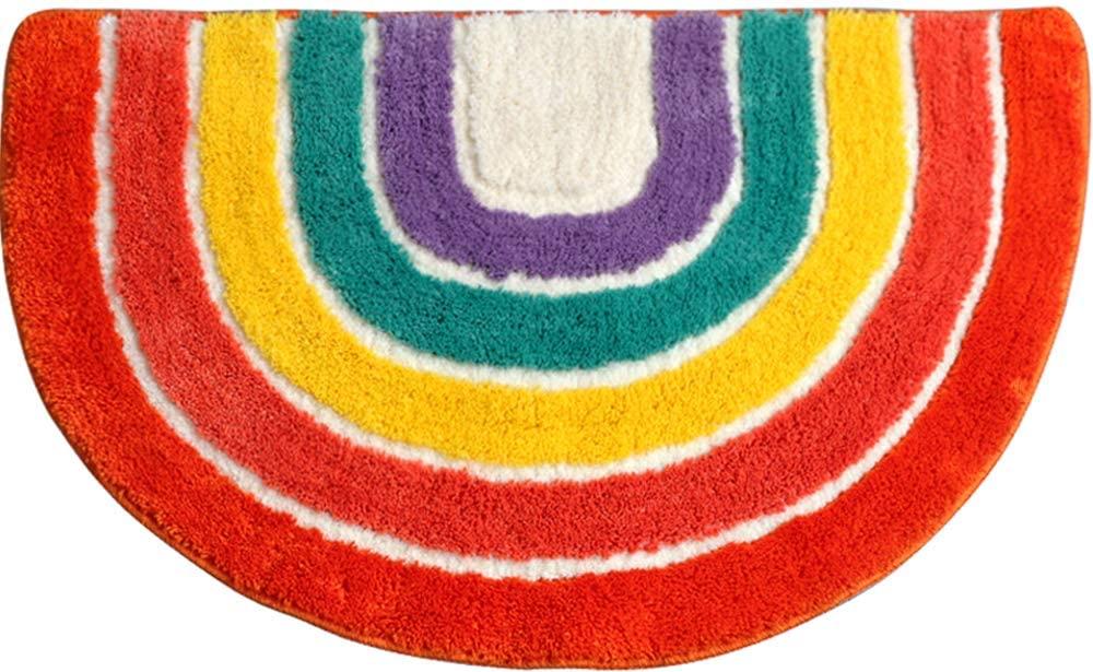 YUELIU Bathroom Rug Mat, Ultra Soft and Absorbent Bath Rug, Microfiber Thick Plush Shower Floor Mats, Rainbow Design