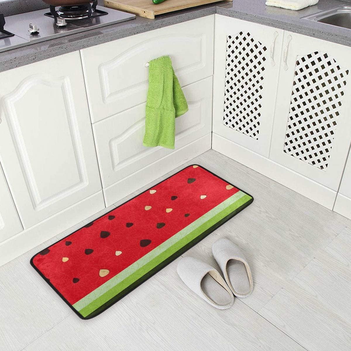 ALAZA Fruit Watermelon Juice Seed Non Slip Kitchen Floor Mat Kitchen Rug for Entryway Hallway Bathroom Living Room Bedroom 39 x 20 inches(1.7' x 3.3')