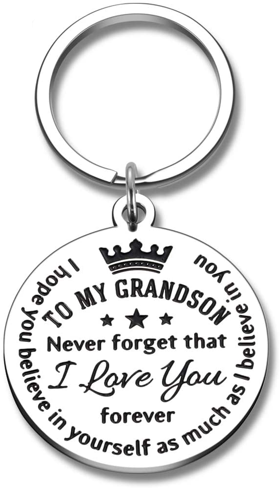Grandson Gift Keychain from Grandma Grandpa Inspirational Birthday Christmas Graduation Gifts Never Forget That I Love You Forever for Boys Kids Teenage Stocking Stuffer Jewelry Charm Present