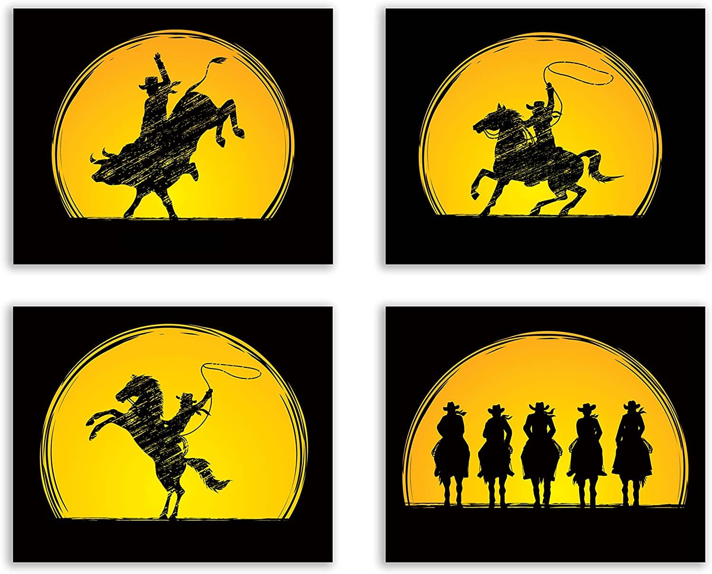 Crystal Cowboy Rodeo Art Prints - Set of 4 (8x10 Inches) Glossy Wall Art Decor - Horseback Silhouette Bull Riding
