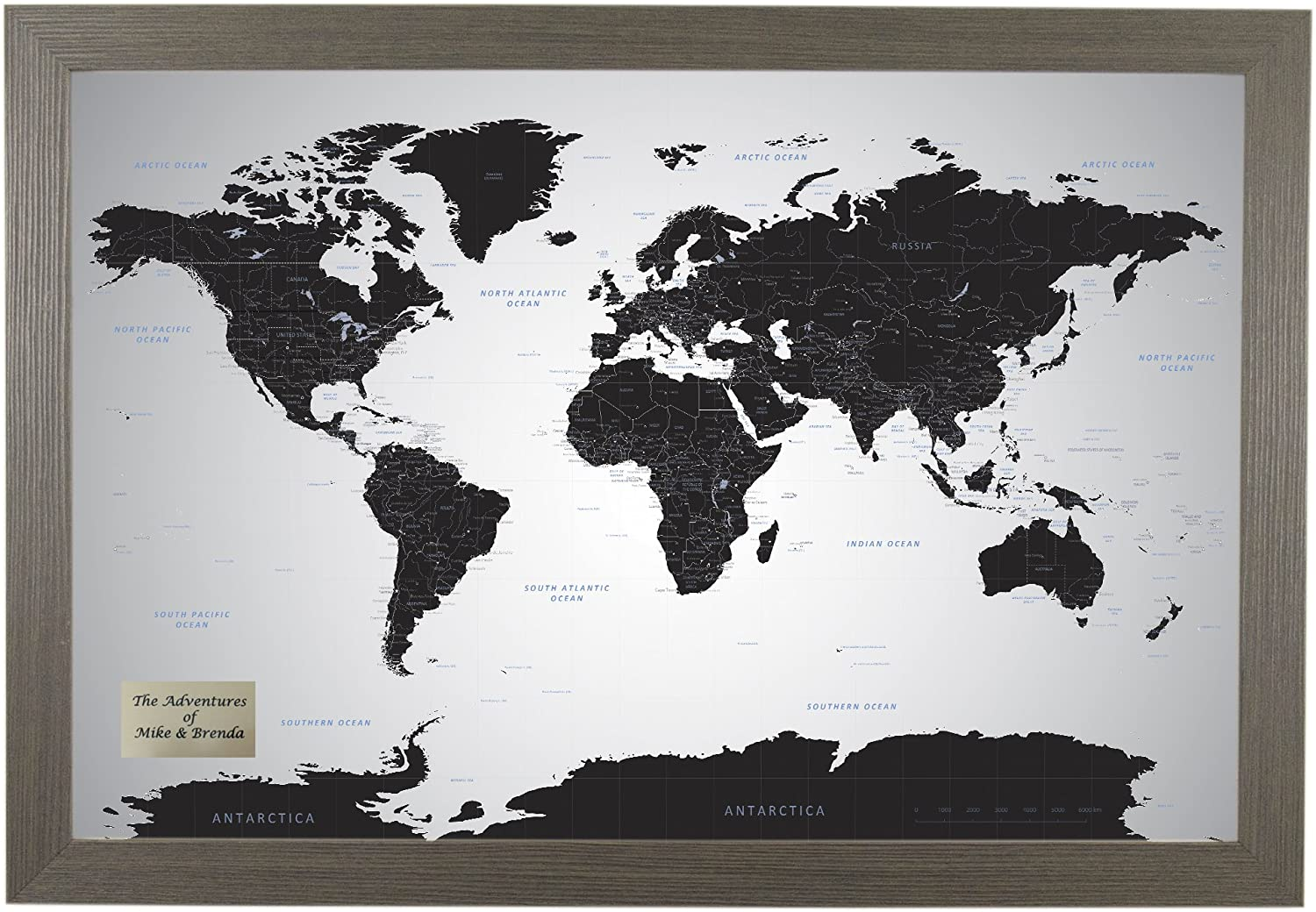 Push Pin Travel Maps Personalized Black Ice World with pins - 27.5 inches x 39.5 inches - Barnwood Gray Frame