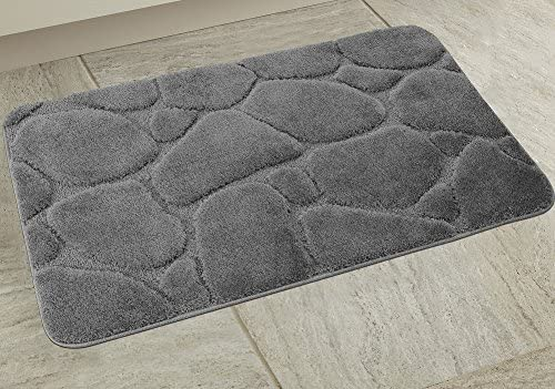 BH Home & Linen 1 Piece Ultra Plush River Rock Design Bath Rug Set. Made with 100% Polyester (1Pc Gray)