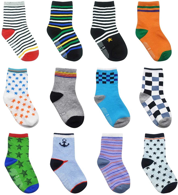 Toddler Socks Baby Boy Socks 12 Pairs Non Skid Slipper Kid Socks with Grips 0-7T