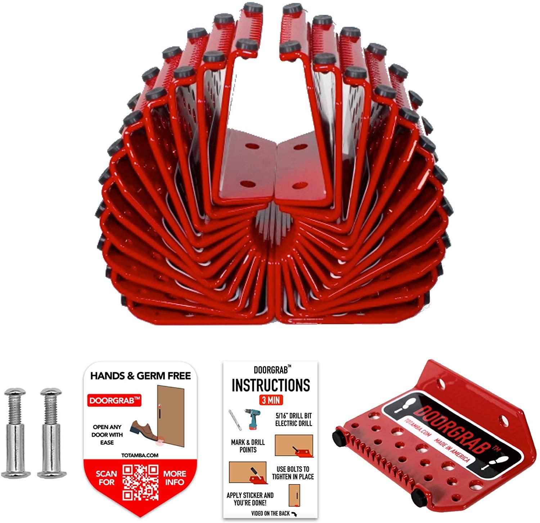 1 Pack | DoorGrab | Made in America Door Foot Pull Stainless Steel | Hands Free Door Opener | Avoid Touching Handles | Germ Free & Sanitary (1)