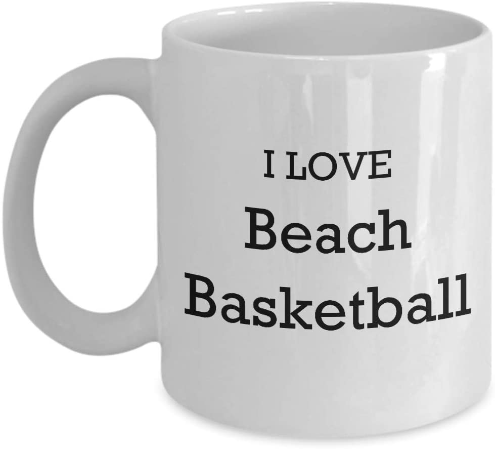 I Love Beach Basketball Coffee Mug 11oz Enthusiast Lover Novelty Fun Funny Gift Idea Tea Cup For Him Her White