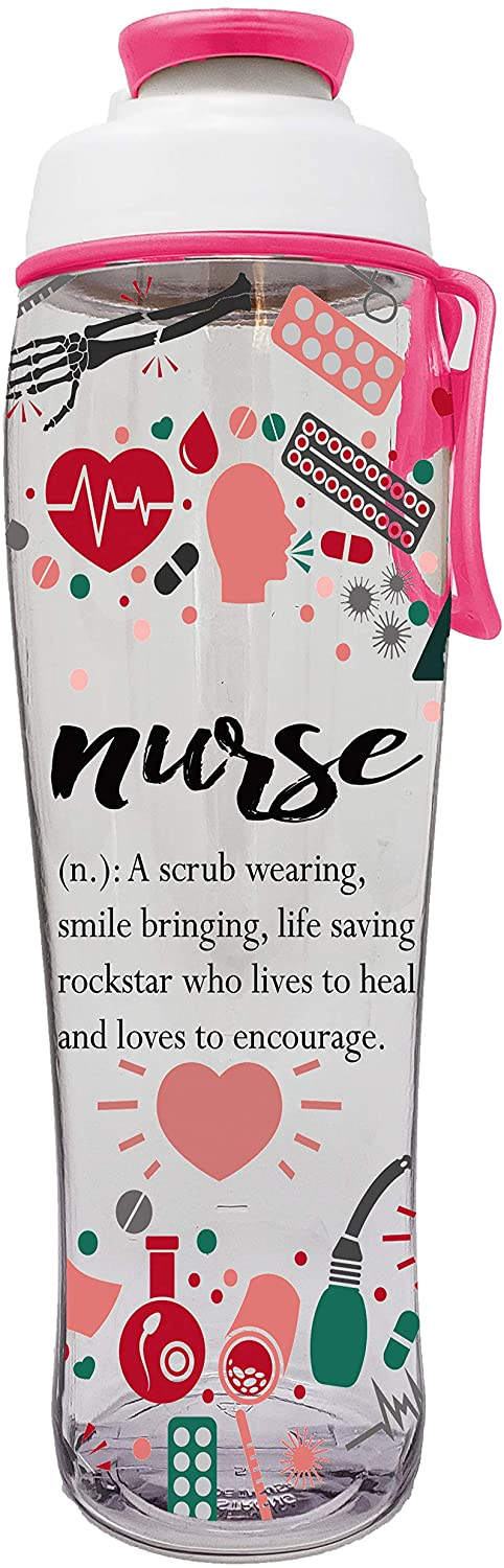 50 Strong Nurse Water Bottle - BPA Free w/Carry Loop & Chug Cap - Great Gift for Nurses, RN, CNA, MA or Nursing Graduation - for Birthday, Thank You, Christmas or Graduate