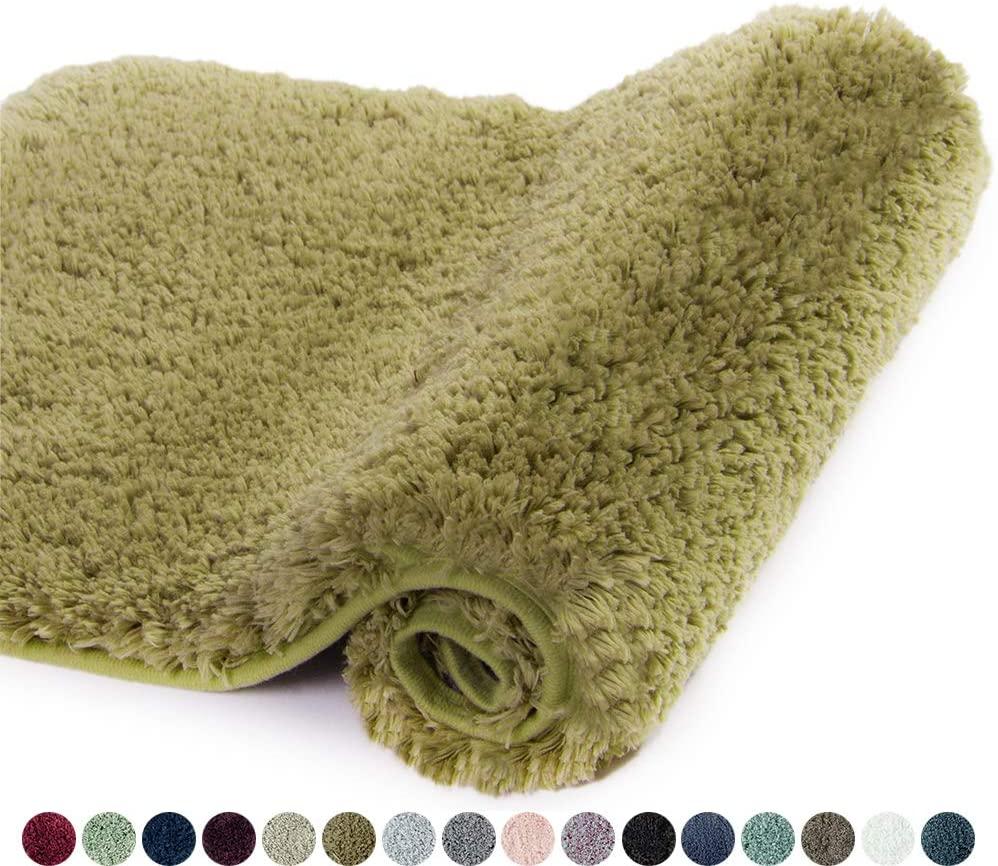 Walensee Bathroom Rug Non Slip Bath Mat for Bathroom (16 x 24, Olive Green) Water Absorbent Soft Microfiber Shaggy Bathroom Mat Machine Washable Bath Rug for Bathroom Thick Plush Rugs for Shower