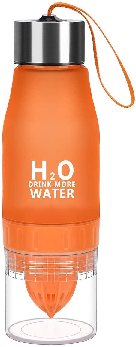 HANTAJANSS H2O Lemon Water Bottles, 20 oz Leak Proof Fruit Infuser Sport Bottle for Yoga, Pilates, Outdoor, Cycling, Traveling