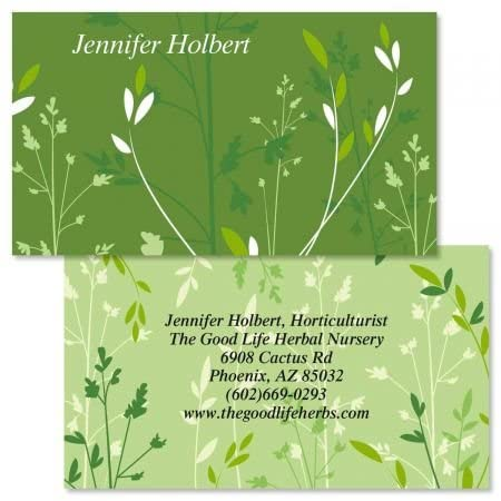 Organic Double-Sided Business Cards - Set of 250 2 x 3-1/2 custom business card design; 80# Cover Stock, Opaque, Matte