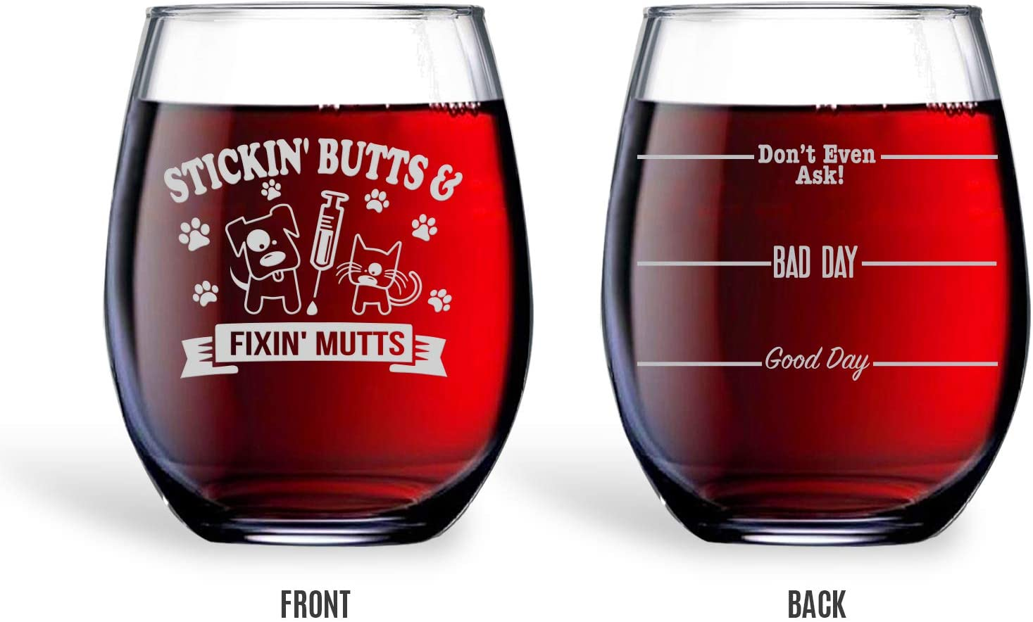 Bad Bananas Veterinarian And Vet Tech Gifts - 21 oz Engraved Stemless Wine Glass with Coaster - Good Day, Bad Day, Don't Even Ask