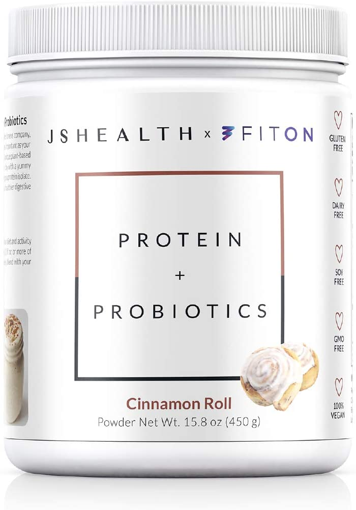 JSHealth x FitOn Vegan Pea Protein Powder with Probiotics - Gluten Free, Non GMO, Plant Based Protein Drink Mix - 450g, Cinnamon Roll