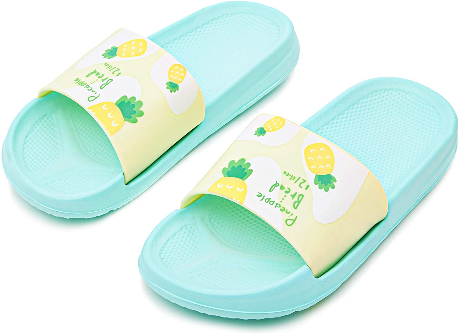 Pineapple Printed Beach Slide Slippers for Women in Green, Yellow