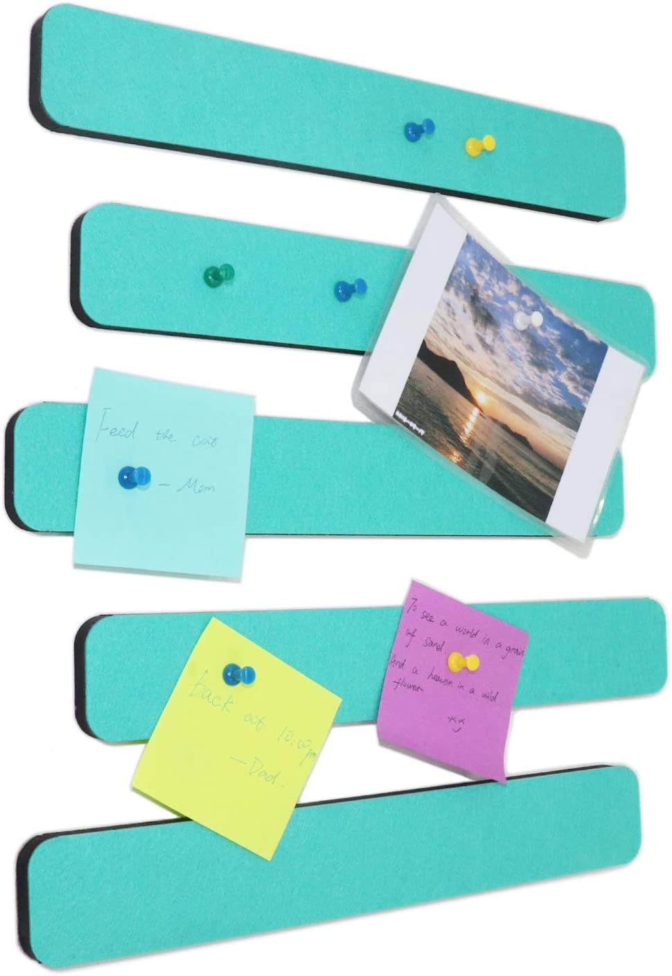 Omitfu Felt Bulletin Board Bar Strip 0.5 Inch Thick Self-Adhesive Pin Board Bar 13 Inch in Length with 15 Pushpins, 5 Turquoise Bars