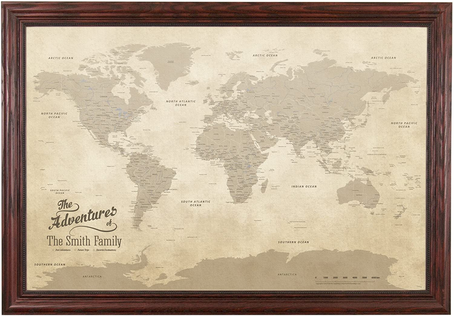 Push Pin Travel Maps Canvas - Personalized Vintage World with Solid Wood Cherry Red Frame