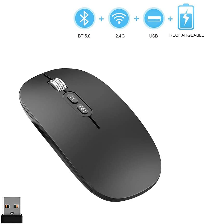 YIOYULEN Wireless Bluetooth Mouse, 2.4G Rechargeable Optical Computer Silent USB Mice with 3 Adjustable DPI Dual Mode Wireless Mouse Compatible for Laptop/PC/MacBook/Phone/Windows 8 or Above (Black)