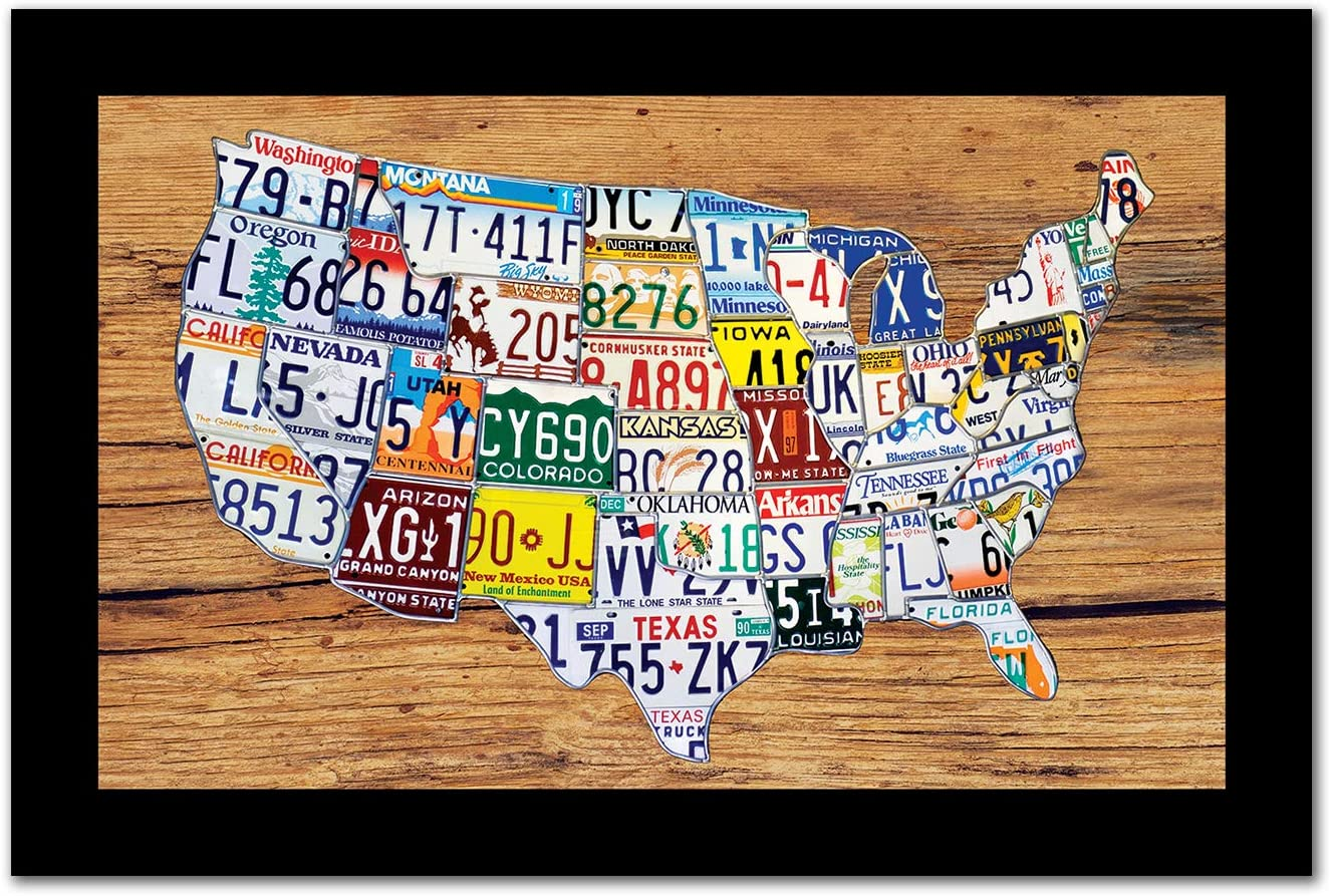 PictureFrameFactoryOutlet - Framed License Plate Map of United States 19x29 - Ready to Hang Picture Frame with Clear Acrylic Plexiglass