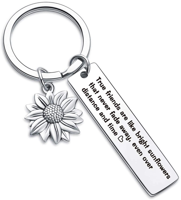7RVZM Inspirational Sunflower Keychain Friendship Jewelry Best Friend Gift bff Jewelry Friends Moving Away Gift