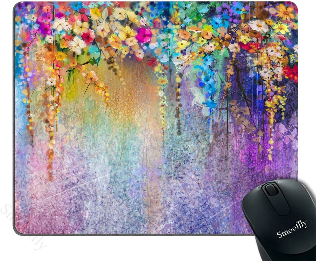 Smooffly Watercolor Flower Gaming Mouse Pad, Abstract Herbs Weeds Blossoms Ivy Back with Florets Shrubs Design Mouse Pad for Office, 240MM X 200MM X 3MM