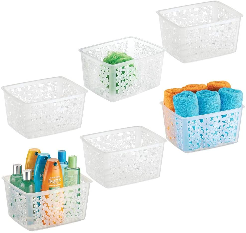 mDesign Plastic Bathroom Storage Basket Bin for Organizing Hand Soaps, Body Wash, Shampoos, Lotion, Conditioners, Hand Towels, Hair Accessories, Body Spray - Large, Floral Design, 6 Pack - Clear