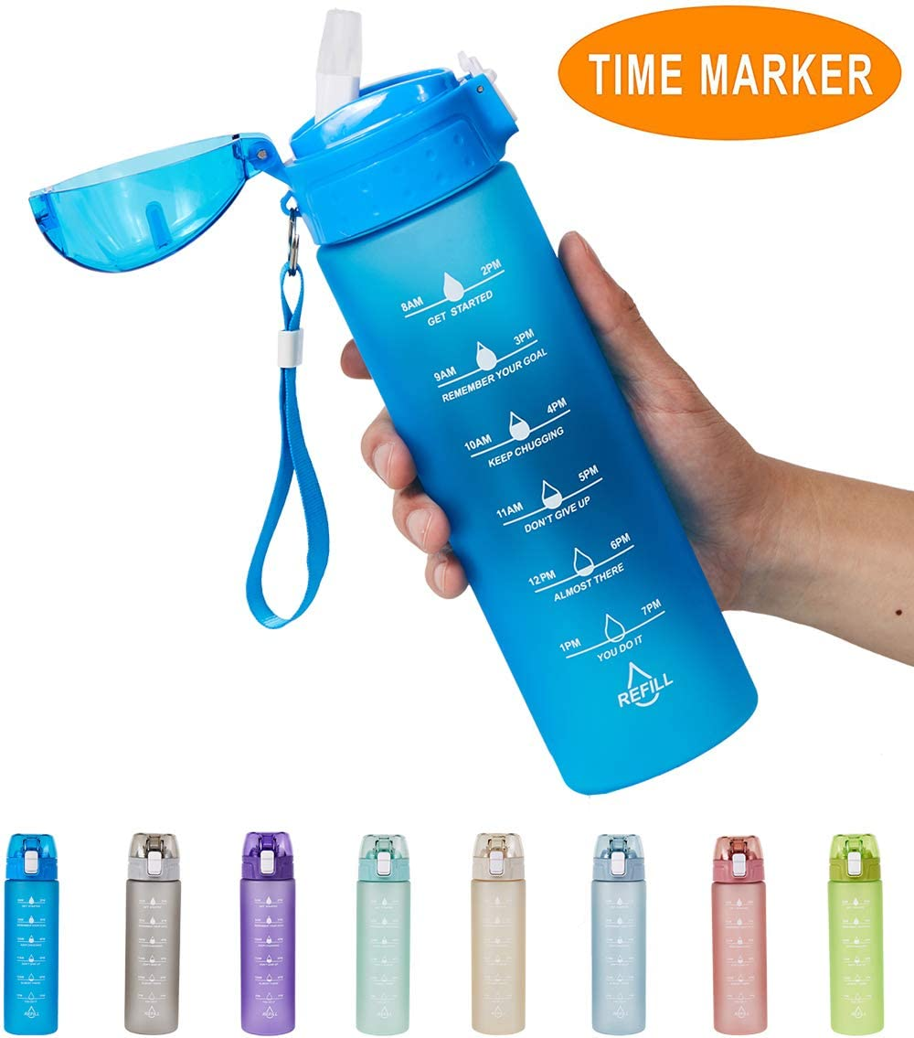 Allfourior 24oz Water Bottle with Time Marker & Straw – Leak Proof BPA Free Motivational Drinking Bottles for Fitness, Gym and Outdoor Sports