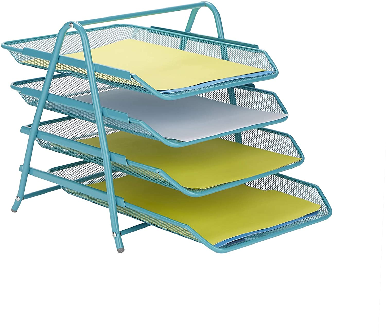 Mind Reader 4TPAPER-TUR Desk Organizer with 4 Sliding Trays for Letters, Documents, Mail, Files, Paper, Turquoise, 4 Tier