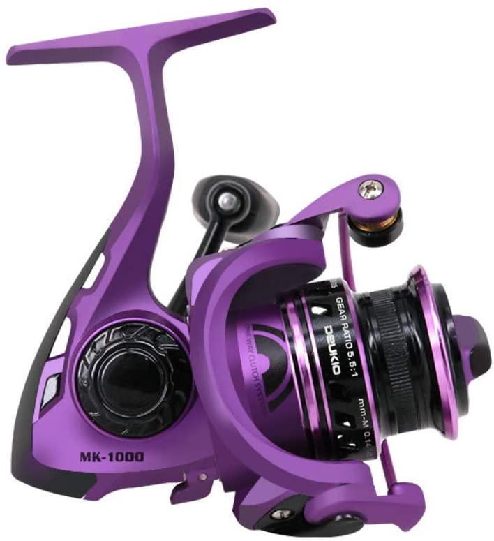 SportsInn MK1000 Purple Fishing Reels 5 BB 1 RB Spinning Reel Front Drag Reel Gear Ratio 5.5 :1 Right or Left Handed Interchangeable, Lightweight Conventional Reel