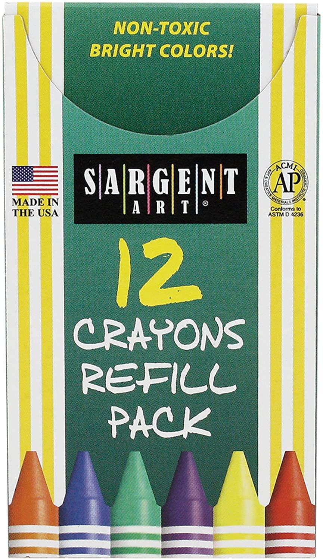 Sargent Art 22-0838 12-Count Tuck Box Standard Size Crayon Refill, Magenta