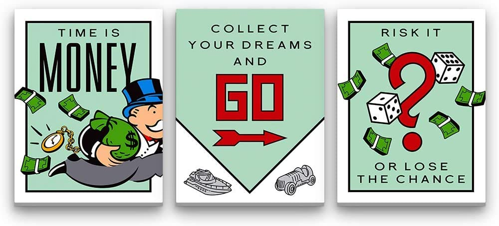 Inktuitive Monopoly Set Inspirational Wall Art w/Frame | Monopoly Pennybags Canvas Print | Motivational Décor for Bedroom, Living Room & Business Office | 40 x 30 Inches (3 Piece Set)