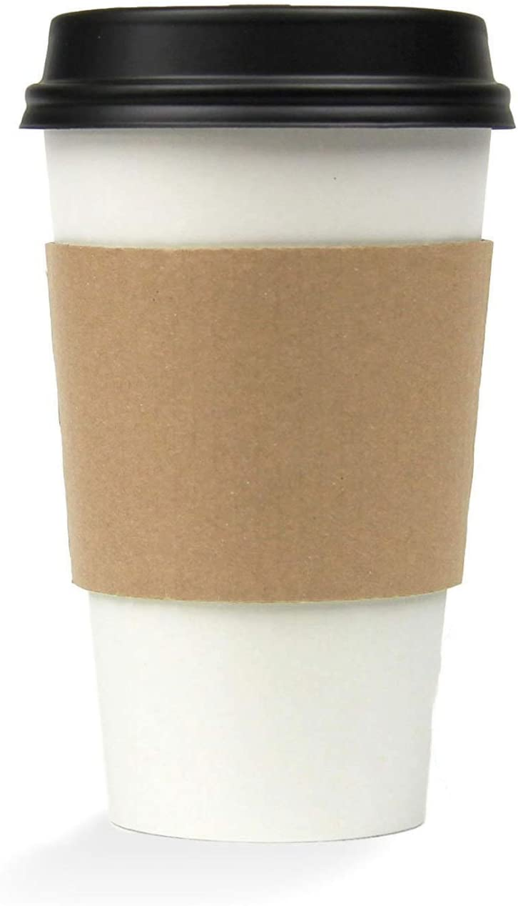[50 Pack] 16 oz Hot Beverage Disposable White Paper Coffee Cup with Black Dome Lid and Kraft Sleeve Combo, Medium Grande