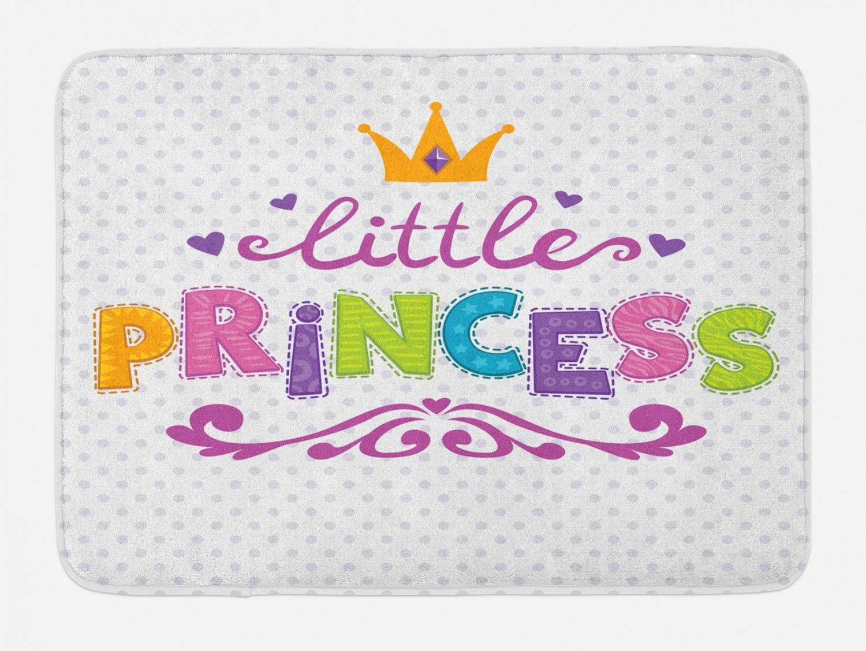 Ambesonne Feminine Bath Mat, Little Princess Lettering on Polka Dot Background Cheerful Illustration, Plush Bathroom Decor Mat with Non Slip Backing, 29.5
