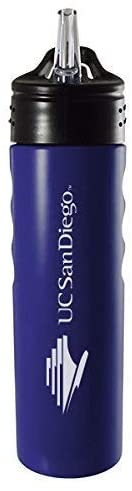 LXG, Inc. University of San Diego-24oz. Stainless Steel Grip Water Bottle with Straw-Blue