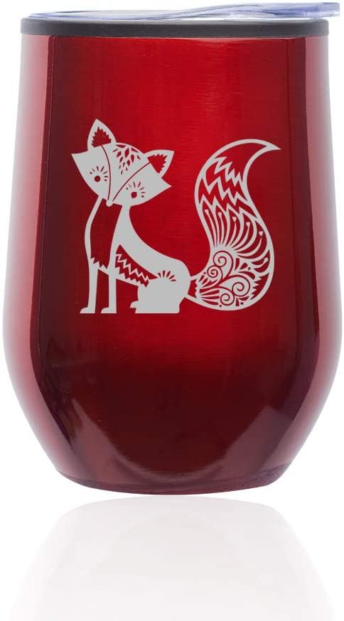 Stemless Wine Tumbler Coffee Travel Mug Glass with Lid Fancy Fox (Red)