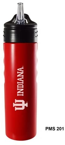 Indiana University-24oz. Stainless Steel Grip Water Bottle with Straw-Red