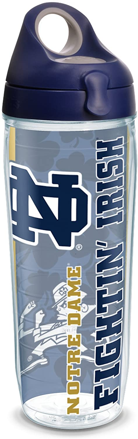 Tervis Notre Dame Univ College Pride Wrap 24oz Water Bottle with Navy Wb Lid, Clear
