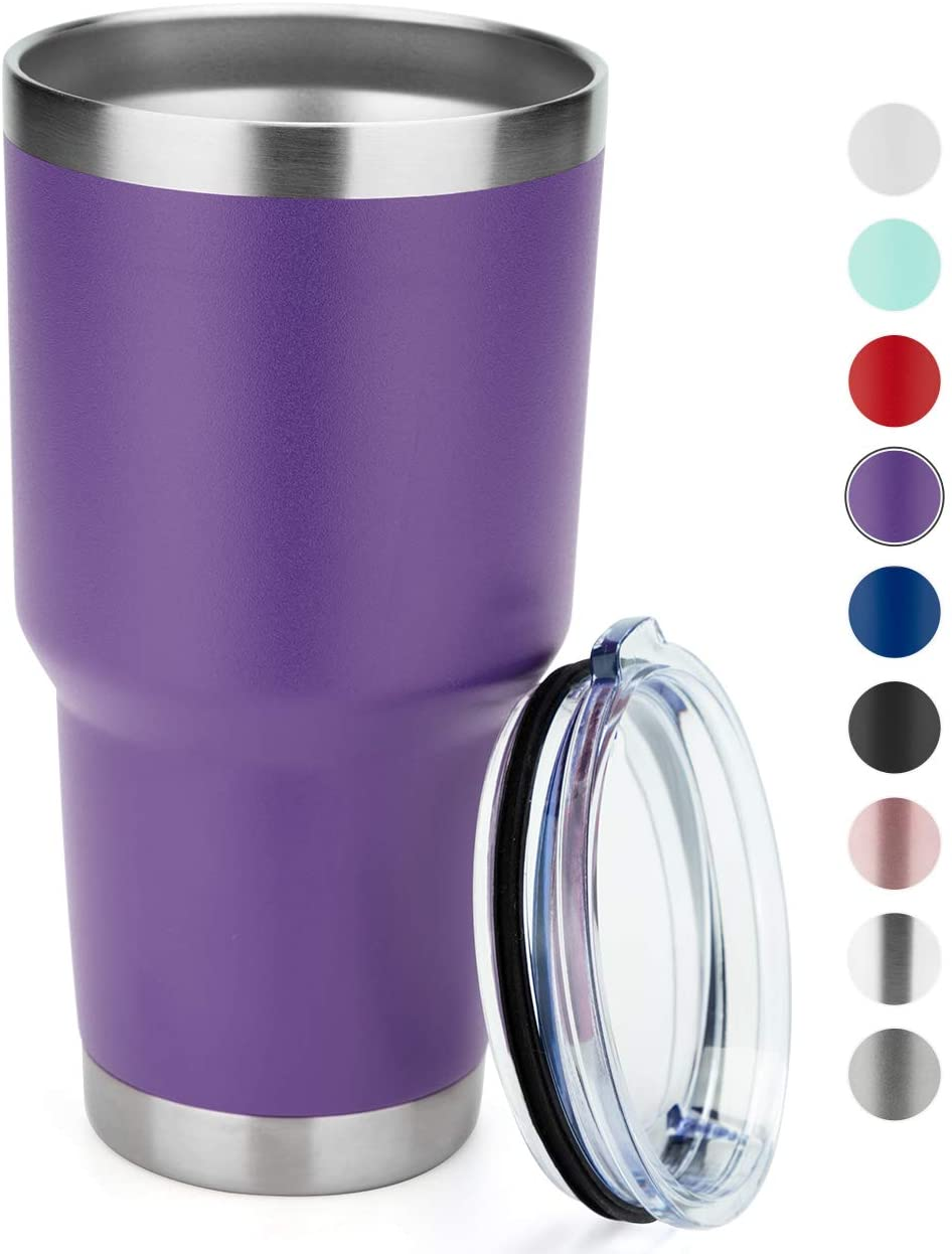 MANYHY 30oz Stainless Steel Tumbler Insulated Double Wall Vacuum Travel Mug with Lid, Durable Coated Thermal Coffee Cup for Cold Drink and Hot Beverage (Purple, 1)