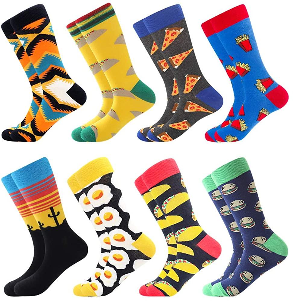 Men's Fun Dress Socks Crew Colorful Funky Fancy Novelty Funny Casual Patterned Socks for Men