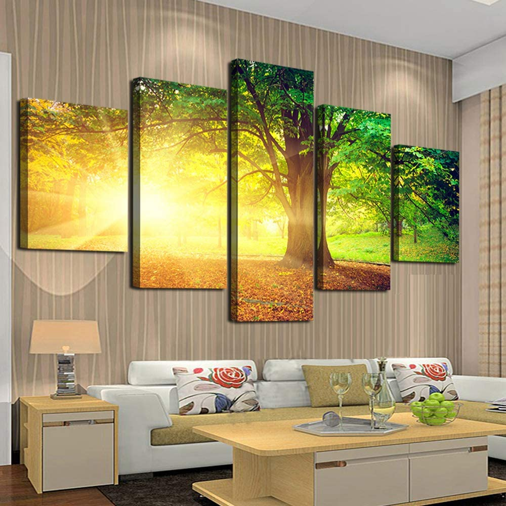 Cao Gen Decor Art-AH40139 5 panels Wall Art Canvas Prints Sunset Trees Natural Forest Pictures Ready to hang for Home Decoration Yellow Artwork