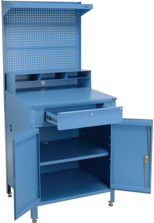 Shop Desk w/Lower Cabinet, Pigeonhole Compartment w/Pegboard Riser, 34-1/2