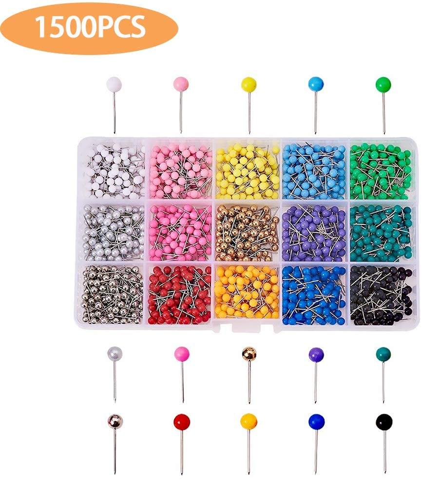 SOOTOP Push Pins, 500 Pcs Colorful Pin Set Map Tacks Marking Pins Plastic Marking Pins with Sharp Point & Round Head for Bulletin Board, Fabric Marking, Crafts and Office Organization