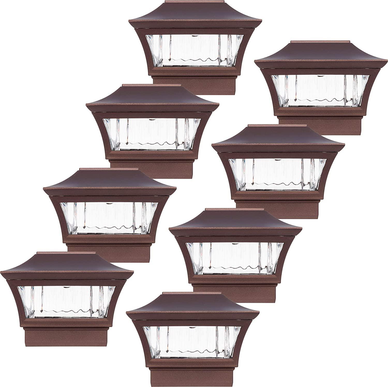 GreenLighting Bronze Aluminum 4x4 Solar Post Cap Light - Wood/PVC Posts (8 Pack)