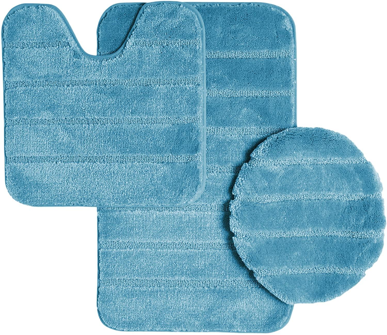 Ribbed Design Soft Pile Solid Color 3 Piece Bathroom Rug Set, Bath Mat, Contour Rug, Universal Lid Cover, Louise (Turquoise)