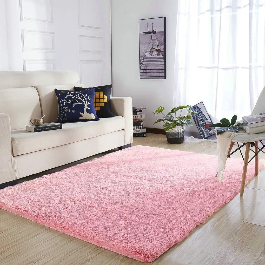 YOH Modern Soft Shaggy Fur Area Rug Fluffy Bedroom Rugs, Non-Slip Indoor Comfy Plush Accent Rug for Living Room Dorm Kids Boys Girls Room Luxury Furry Baby Nursery Decor Floor Carpet, 4x6 Feet Pink