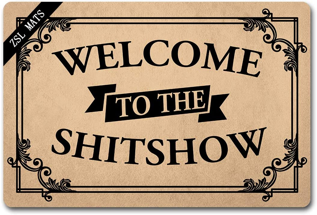ZSL Funny Welcome Mat Indoor Door mat Welcome to The Shitshow with Personalized Mats for Entrance Kitchen Non Slip Front Door Doormat (23.6 X 15.7 in)