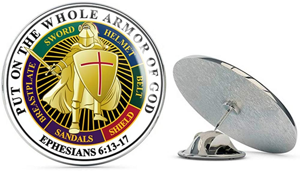 Veteran Pins Put on The Whole Armor of God (White) Steel Metal 0.75