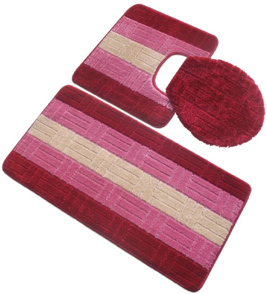 BH Home & Linen 3 Piece Premium Polypropylene Bath Rugs Set with Embossed/Tiles Design ((B) Burgundy)